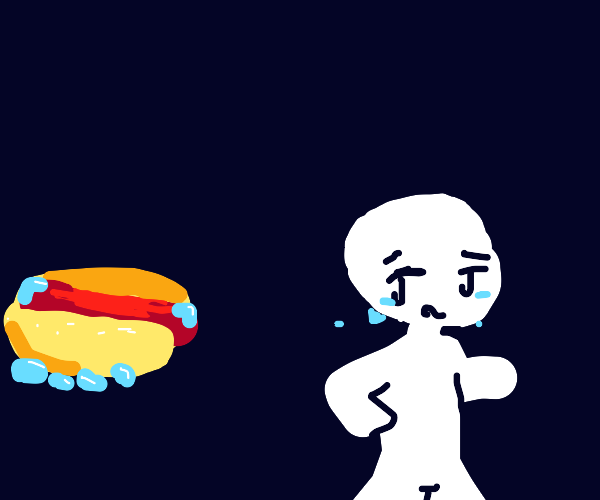 Kid running from frozen hotdog.