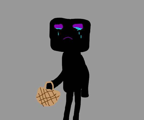 sad enderman with empty basket