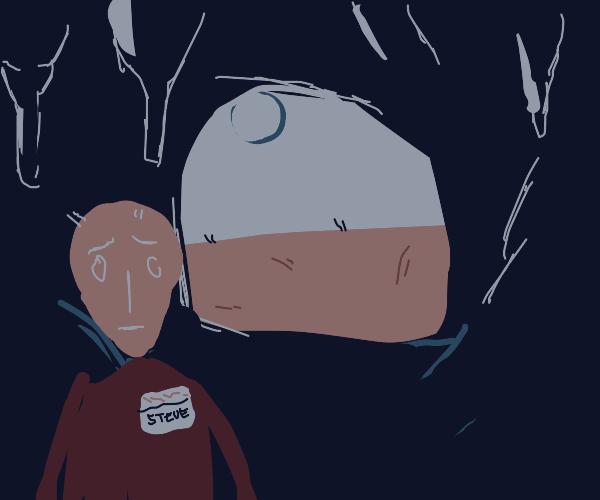 steve explores a cave