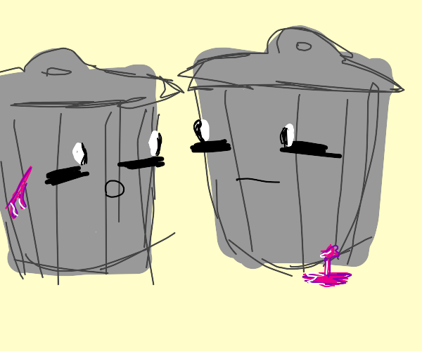 two trashcans with eyeballs in a warzone