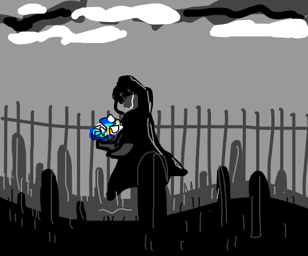 A person crying in front of someone's grave