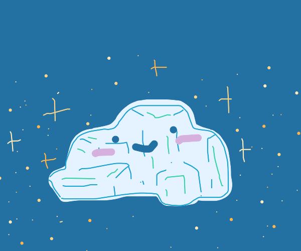 a happy, very shiny rock.