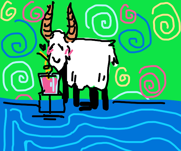 goat with his pink drink and swirl straw