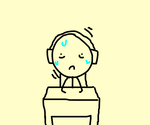 Scared man with headphones