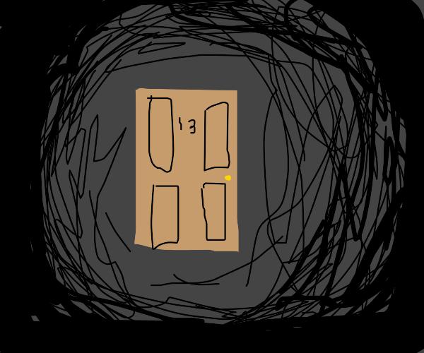A single wooden door