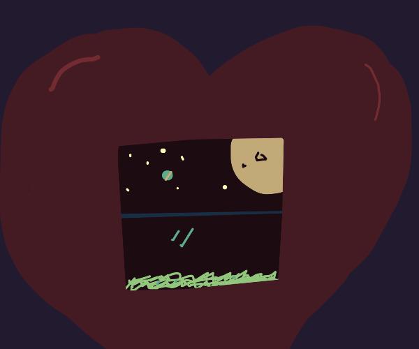 Window Frame in a Heart Shaped Box