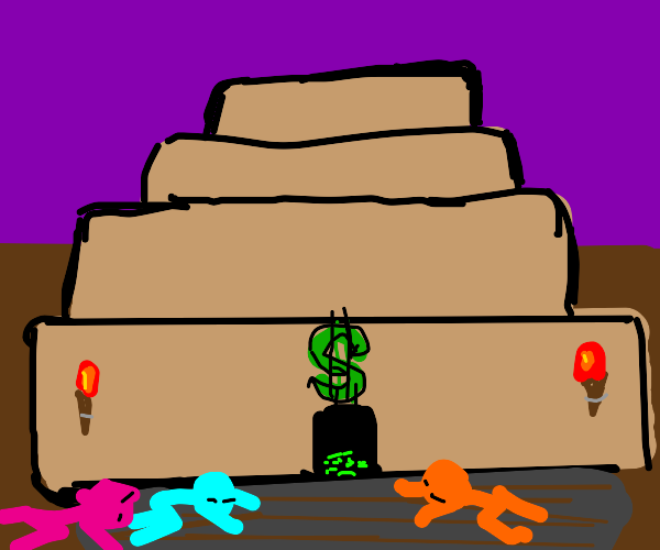 stick figures praying to the temple of money
