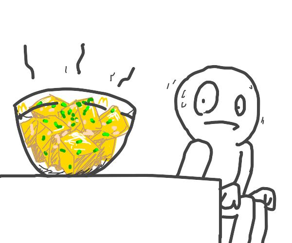 man nervously glances@his mcdonalds egg salad