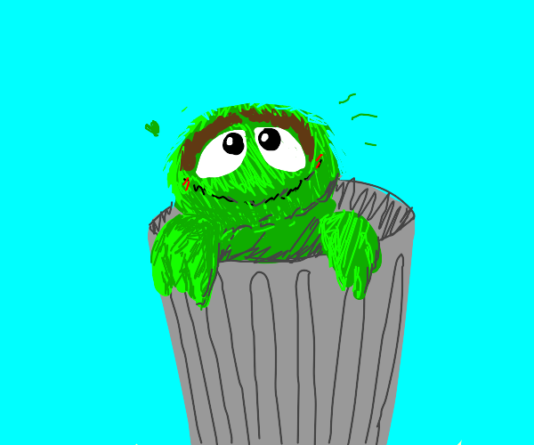 Oscar the Grouch is oddly cheerful
