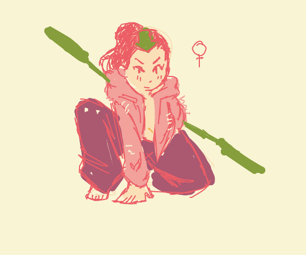 Aang, but female and in a pink fluffy jacket.
