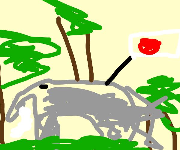 Japanese elephant is hiding the jungle