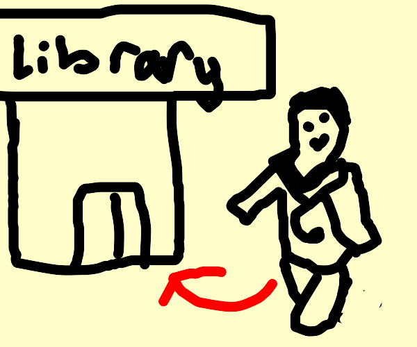 Doctor going to the library to research