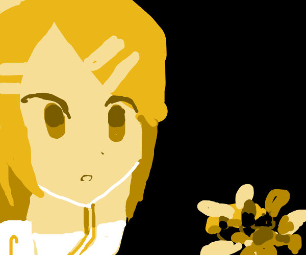 Girl looking at a bee on a flower