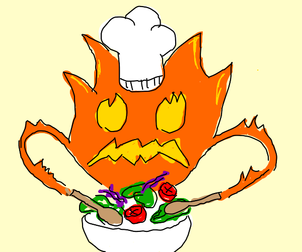 Determined Firey Chef makes SALAD