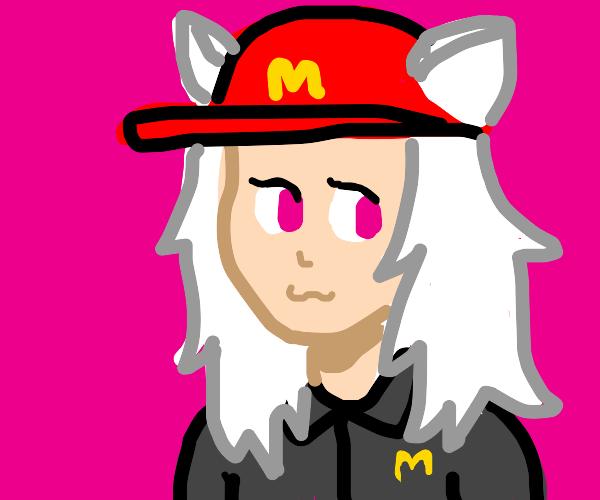 Cat girl works for McDonald's