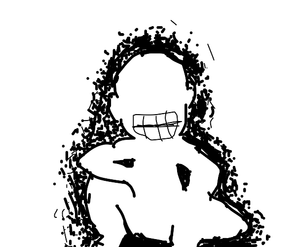 Grinning man shielded by dots