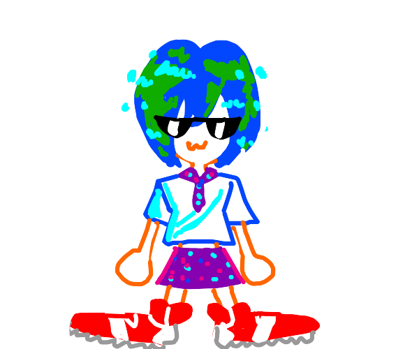 Swagger Earth-chan wearing cool red sneakers