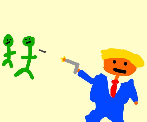 Trump shoots green people