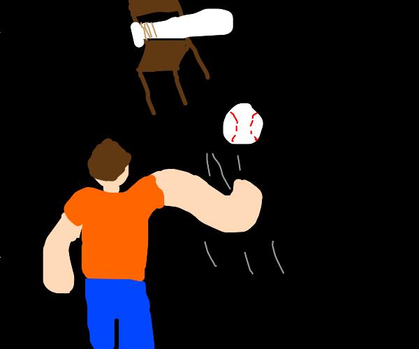 playing baseball with chair