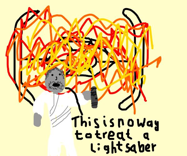 Luke stops a lightsaber from being burnt