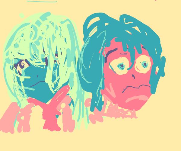 Sad blue anime girl and scared pink anime gir
