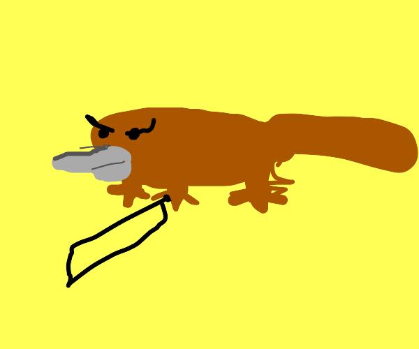 fluffy platypus wit a knife