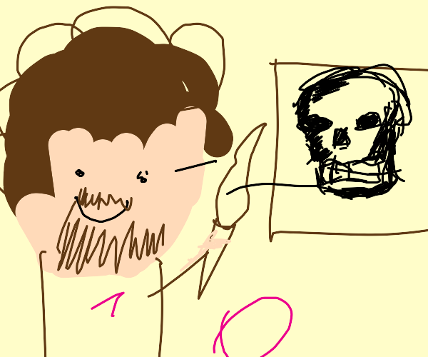 Bob Ross paints a Skeleton Head