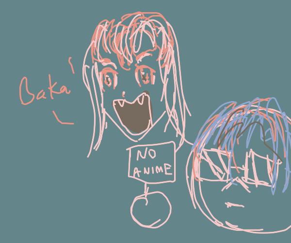 """Anime girl saying """"Baka"""""""