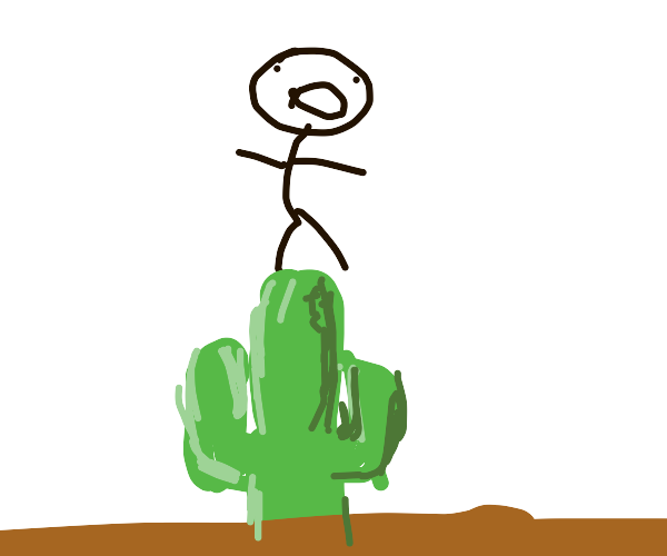 stickman jumping on a cactus