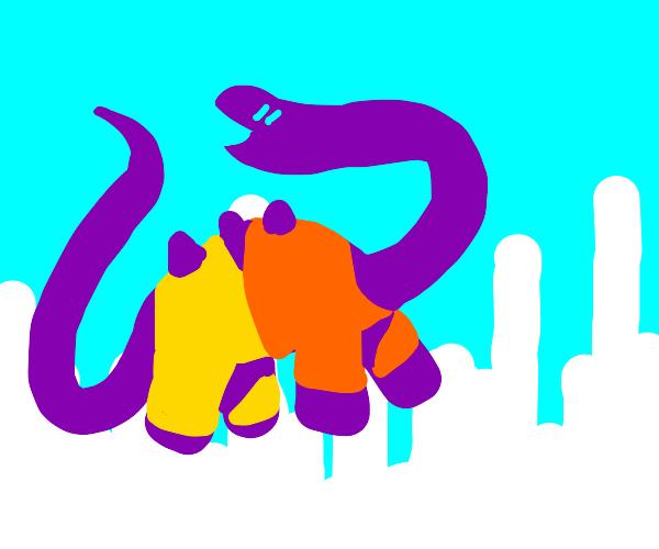 purple dinosaur wears orange shirt and pants