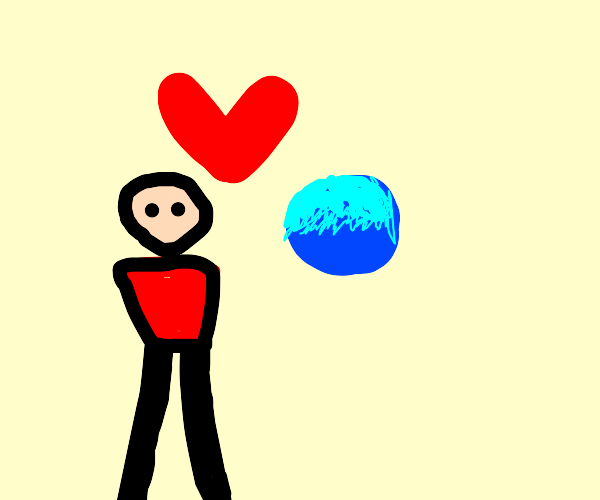 Armless person loves Drawception colored ball
