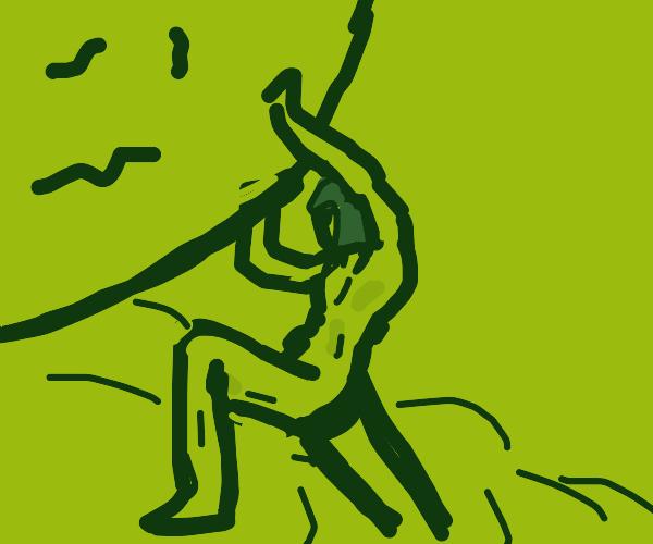 Sisyphus push rock up hill