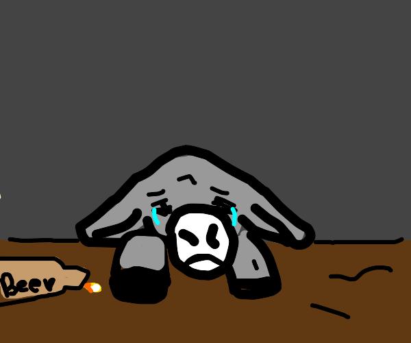 sad donkey drinking alcohol