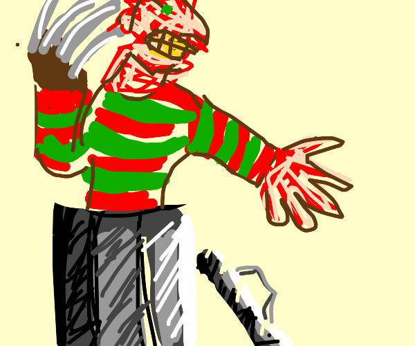 FreddyKrugerScaresKidsByPoppingOutOfTrash