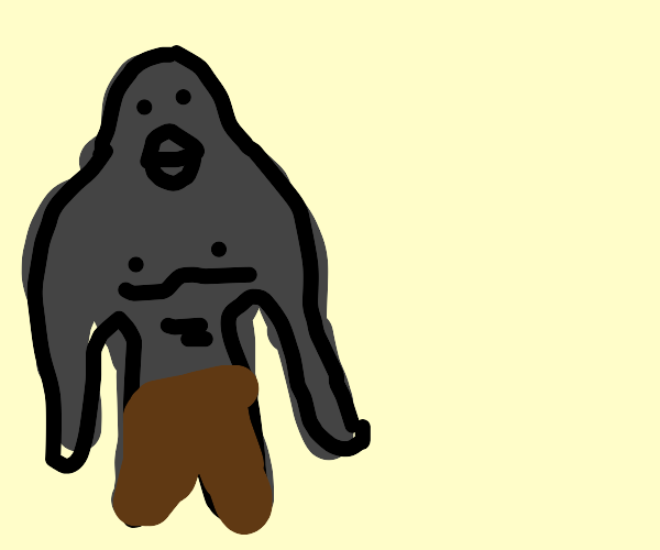 gorilla with brown pants