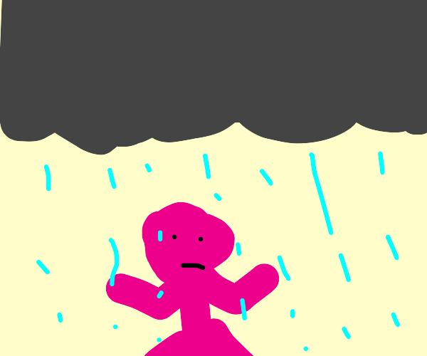pink man in the rain