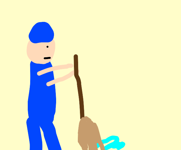 Janitor moping up spill