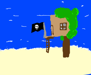 Pirate treehouse on a cute isand :3