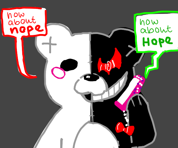 Monokuma talking on a phone