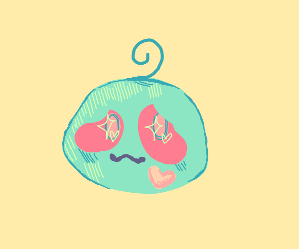a cute green thing with a heart