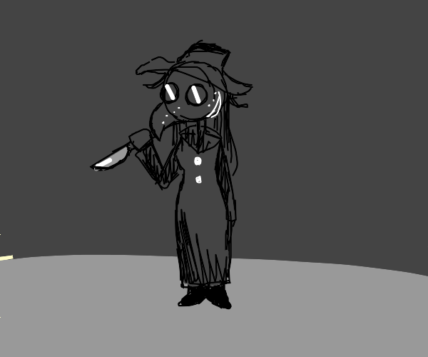 Plague doctor woman with knife