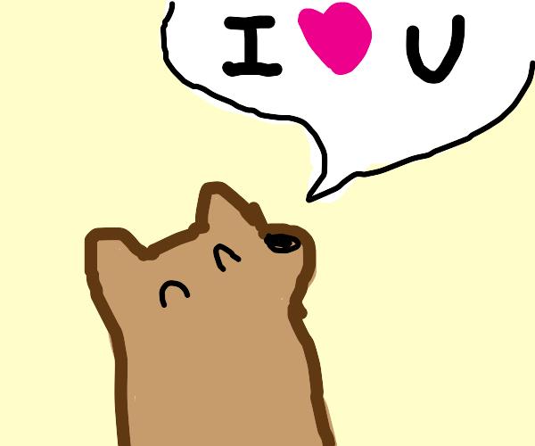 """Tiny dog saying """"I heart u"""""""
