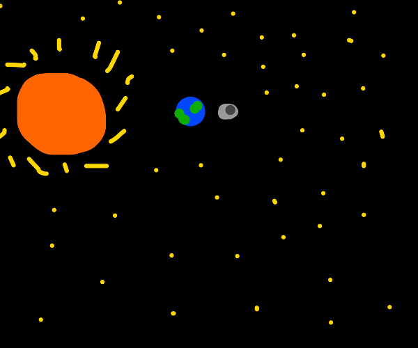 The sun, moon, and earth from space