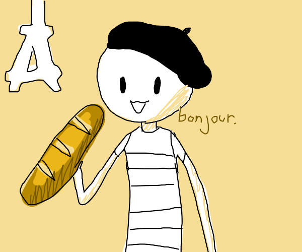 French stickman in a beret holding a baguette