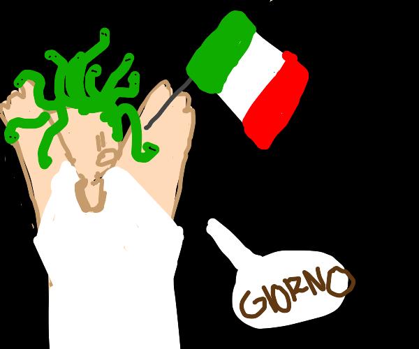 "Italian Medusa saying ""Giorno"""