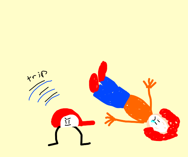 Clown trips over hat with legs