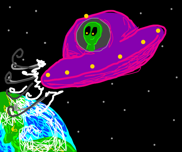alien flying to space from earth