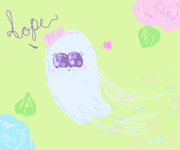 a cute ghost says hope