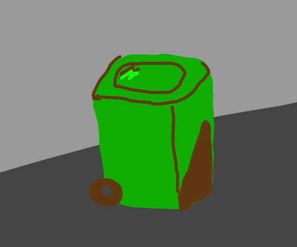 Old Green Wheelie Bin