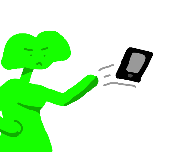 Girl throwing phone